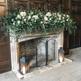Fireplace flowers with succulents